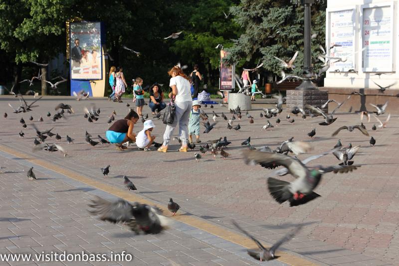 Голуби перед Драмтеатром