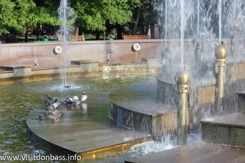 В летний зной птицы плещутся в фонтане